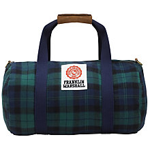 Buy Franklin & Marshall Check Duffle Bag, Navy/Green Online at johnlewis.com