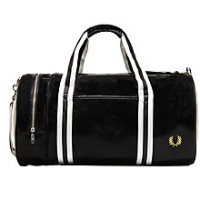 Buy Fred Perry Classic Barrel Bag, Black Online at johnlewis.com