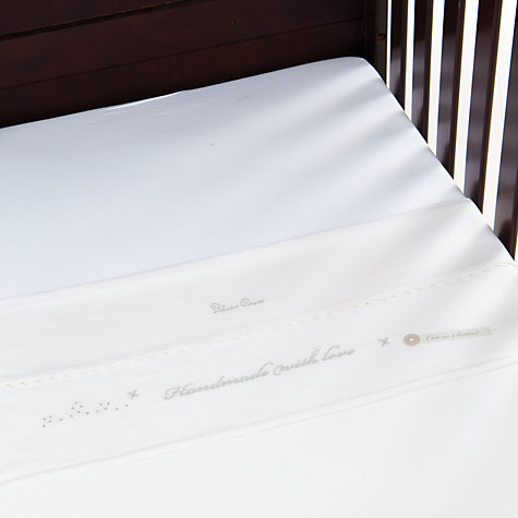 Buy Silver Cross Handmade with Love Cot and Cotbed Sheets, 160 x 120cm, Pack of 2, White Online at johnlewis.com