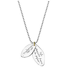 Buy Between You and I Personalised Inscribed Message Double Pendant and Necklace Online at johnlewis.com