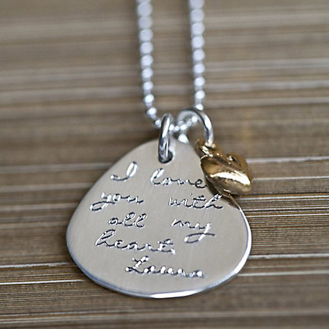 Buy Between You and I Personalised Inscribed Message Oval Pendant and Necklace Online at johnlewis.com