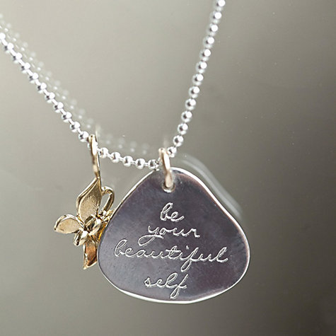 Buy Between You and I Personalised Inscribed Message Pendant and Necklace Online at johnlewis.com