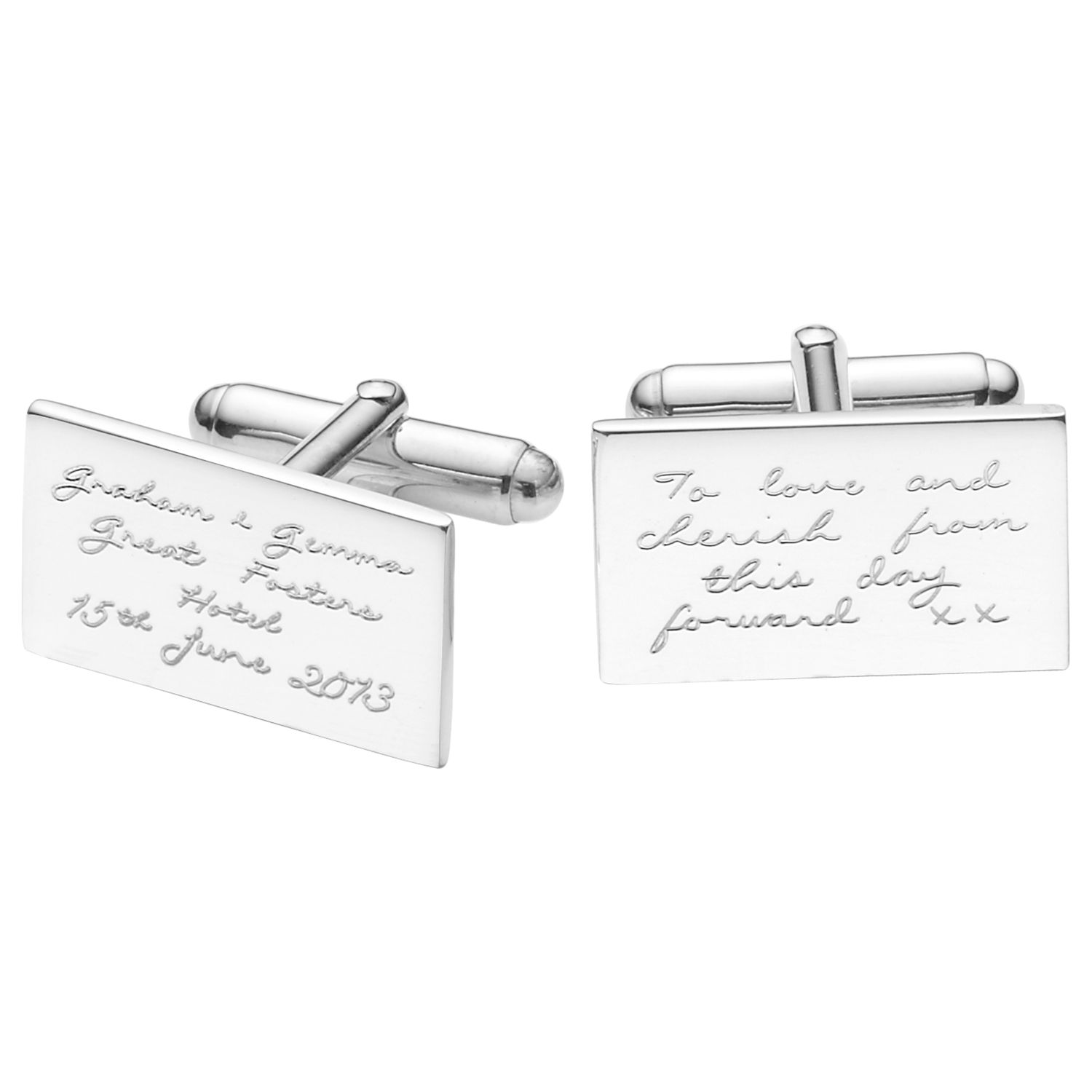 Under The Rose Under the Rose Personalised Inscribed Message Cufflinks