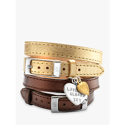 Chambers & Beau Personalised Leather Double Wrap Heart Bracelet