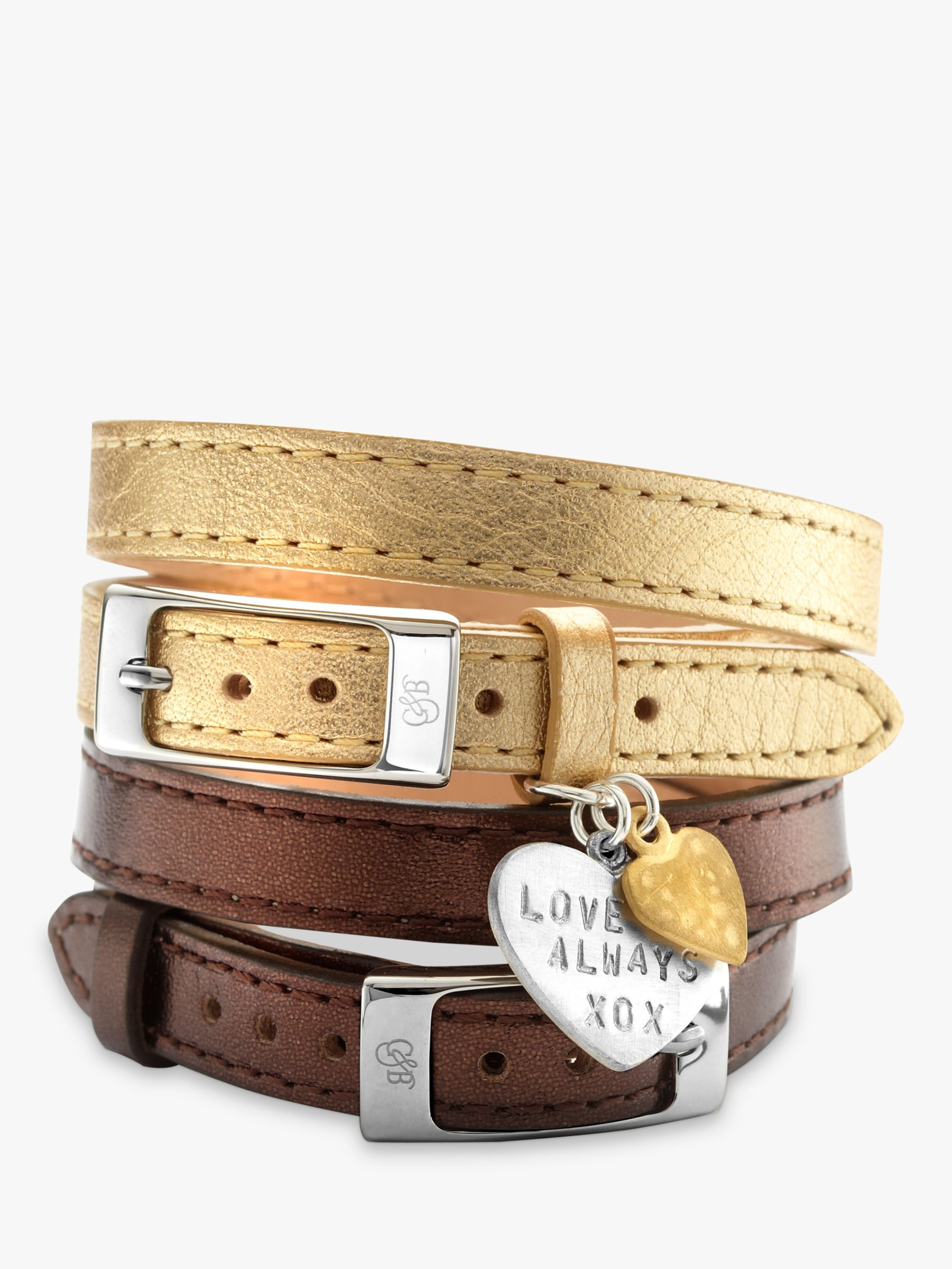 Chambers & Beau Chambers & Beau Personalised Leather Double Wrap Heart Bracelet