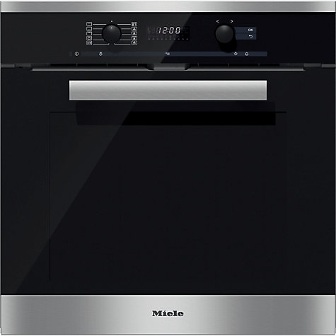 buy miele h6260bp pureline single electric oven clean steel john lewis. Black Bedroom Furniture Sets. Home Design Ideas