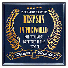 Buy Five Dollar Shake Best Son in the World Birthday Card Online at johnlewis.com