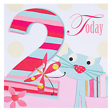 Buy Black Olive Cat 2nd Birthday Card Online at johnlewis.com