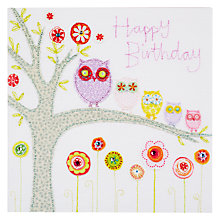 Buy Blue Eyed Sun Vintage Birthday Owls Card Online at johnlewis.com
