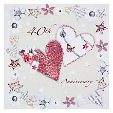 Buy Hammond Gower Glitter Hearts Ruby Anniversary Card Online at johnlewis.com