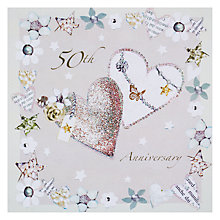 Buy Hammond Gower Glitter Hearts Golden Anniversary Card Online at johnlewis.com
