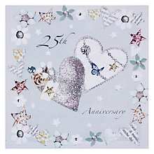 Buy Hammond Gower Silver Glitter Hearts Anniversary Card Online at johnlewis.com