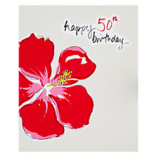 Buy Saffron 50th Hibiscus Birthday Card Online at johnlewis.com