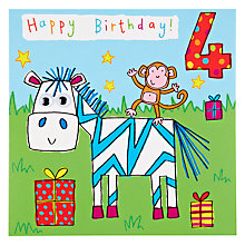 Buy Twizler Zebra 4th Birthday Card Online at johnlewis.com