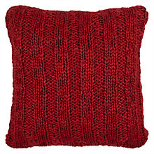 Buy John Lewis Chunky Knit Cushion, Red Online at johnlewis.com