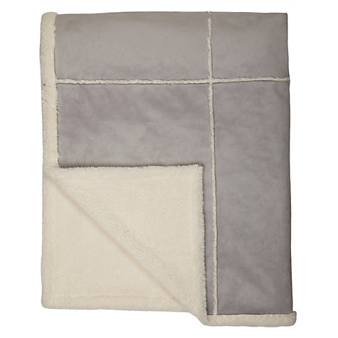 Buy John Lewis Alfie Faux Sheepskin Throw, Grey Online at johnlewis.com