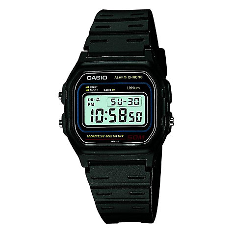 Buy Casio W-59-1VQES Men's Retro Alarm Chronograph, Black Online at johnlewis.com