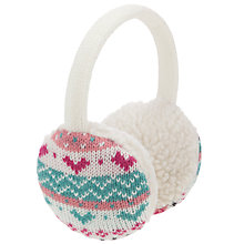 Buy John Lewis Girl Pretty Fair Isle Ear Muffs, Pink Online at johnlewis.com