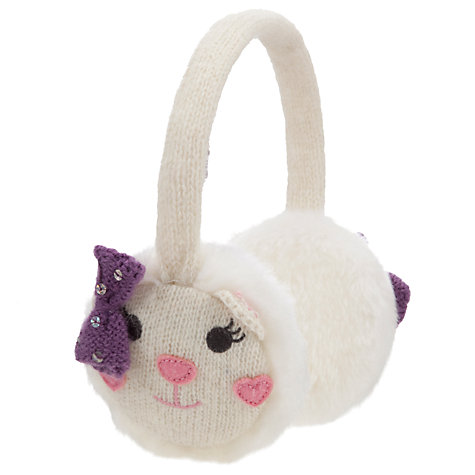 Buy John Lewis Girl Bear Character Ear Muffs, Cream Online at johnlewis.com