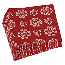Buy John Lewis Snowflake Lunch Paper Napkins, Pack of 20, Red Online at johnlewis.com