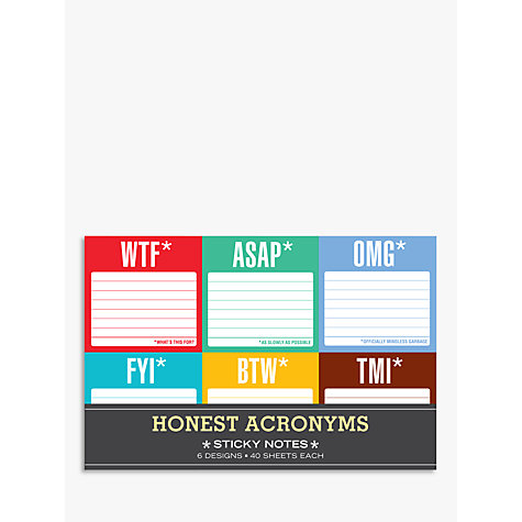 Buy Knock Knock Honest Acronyms Sticky Notes, Pack of 6 Online at johnlewis.com