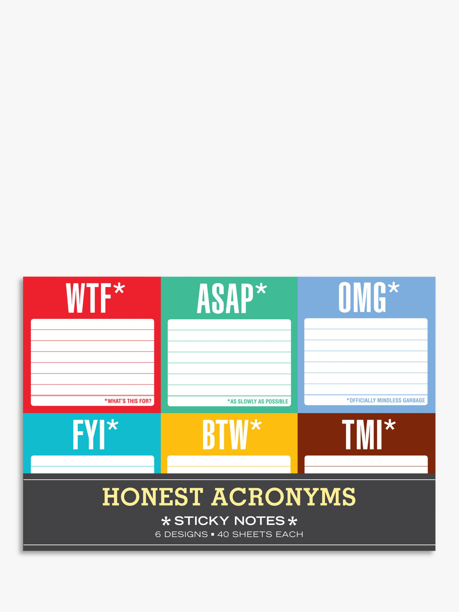 Knock Knock Knock Knock Honest Acronyms Sticky Notes, Pack of 6