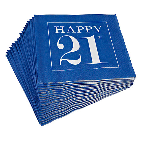 Buy Caspari 21st Celebration Napkins, Pack of 20, Blue Online at johnlewis.com