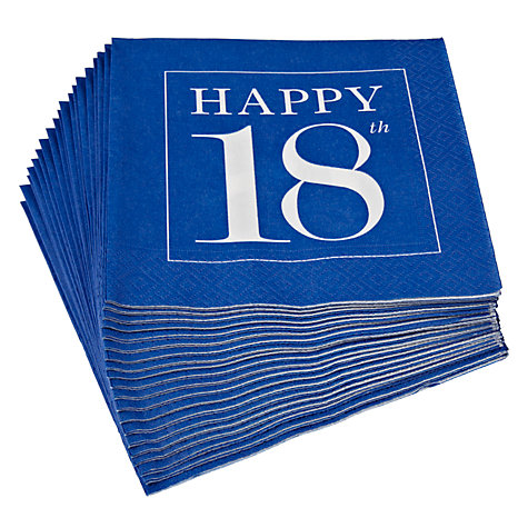 Buy Caspari 18th Celebration Napkins, Pack of 20, Blue Online at johnlewis.com
