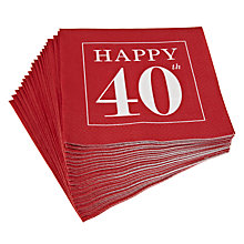 Buy Caspari 40th Celebration Napkins, Pack of 20, Red Online at johnlewis.com