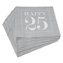 Buy Caspari 25th Celebration Napkins, Pack of 20, Silver Online at johnlewis.com