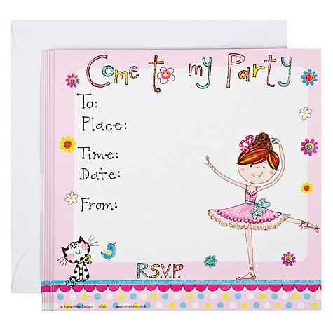 Buy Rachel Ellen Ballerina Party Invitations, Pack of 8 Online at ...