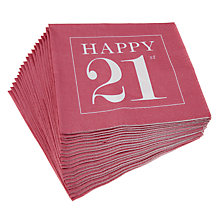 Buy Caspari 21st Birthday Napkins, Pack of 20, Pink Online at johnlewis.com