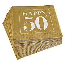 Buy Caspari 50th Celebration Napkins, Pack of 20, Gold Online at johnlewis.com