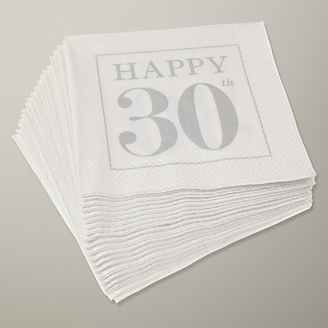 Buy Caspari 30th Celebration Napkins, Pack of 20, Pearl Online at johnlewis.com