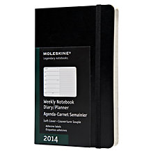 Buy Moleskine A6 Weekly Softback Diary 2014 and Notebook, Black Online at johnlewis.com