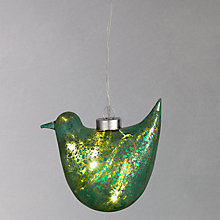Buy Think Gadget Hanging Glass Bird LED Light Decoration, Teal Online at johnlewis.com