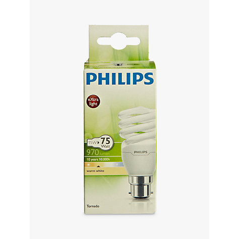 Buy Philips 15W BC Energy Saving CFL Spiral Bulb Online at johnlewis.com