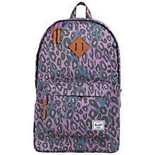 "Buy Herschel Heritage Plus 15"" Laptop Backpack, Purple Leopard Online at johnlewis.com"
