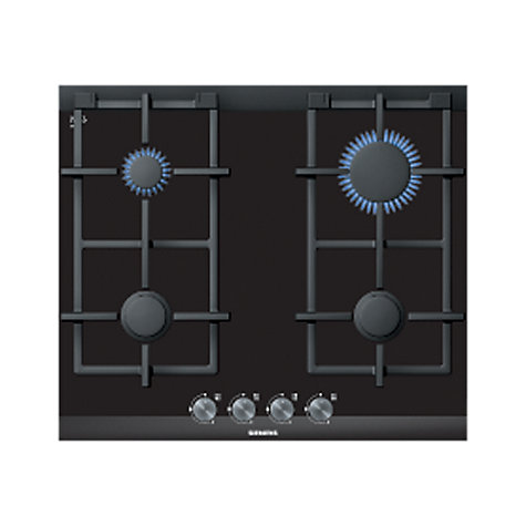 Buy Siemens ER626PB70E Gas Hob, Black Glass Online at johnlewis.com