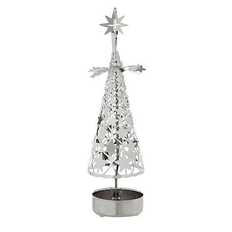 Buy Pluto Rotating Star Tree Tealight Holder, Small, Silver Online at johnlewis.com