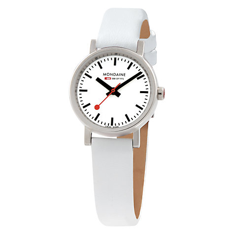 Buy Mondaine A658.30301.11SBN Women's Evo Leather Strap Watch, White Online at johnlewis.com