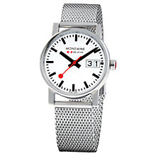 Buy Mondaine A6693030511SBM Unisex Evo Big Date Bracelet Strap Watch, Silver/White Online at johnlewis.com