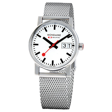 Buy Mondaine A669.30305.11SBM Evo Big Date Watch, Silver / White Online at johnlewis.com