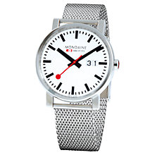 Buy Mondaine A6273030311SBM Unisex Big Date Mesh Bracelet Strap Watch, Silver/White Online at johnlewis.com