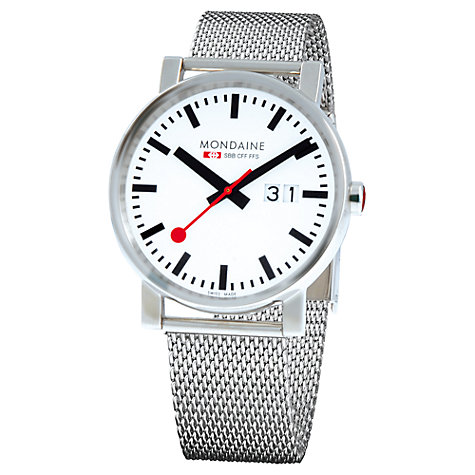 Buy Mondaine A627.30303.11 Unisex Big Date Mesh Strap Watch, Silver/White Online at johnlewis.com
