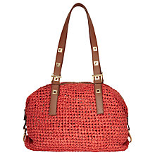 Buy Reiss Verity Raffia Shoulder Handbag, Red Online at johnlewis.com