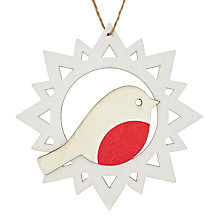Buy House by John Lewis Laser Cut Robin In Snowflake Tree Decoration Online at johnlewis.com