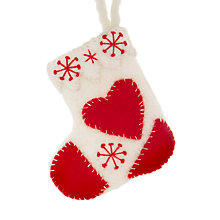 Buy Felt So Good Heart Stocking Tree Decoration, Red/Cream Online at johnlewis.com