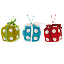 Buy Felt So Good Spotty Present Tree Decoration, Assorted Online at johnlewis.com