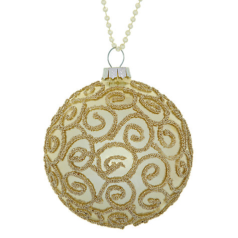 Buy John Lewis Beaded Glass Bauble, Champagne Online at johnlewis.com